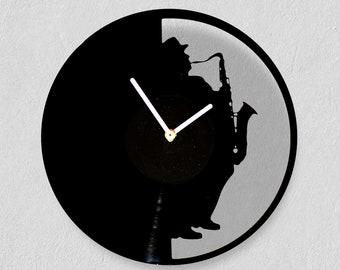 Jazz saxophone, vinyl clock (laser cut), mother's day gift! Handmade/ wall clocks/ best gift idea/ vintage/ mothers day