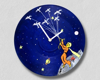 The little prince, vinyl clock, mother's day gift! Handmade/ wall clocks/ best gift idea/ vintage/ mothers day