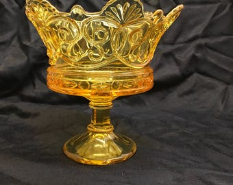 Amber Crown Footed Compote