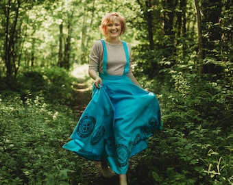 Blue linen long skirt, linen fabrics, with pockets, removable shoulder straps, hand printed fabric, viking age symbols,