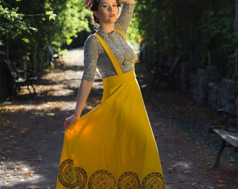 Yellow linen long skirt, linen fabrics, with pockets, removable shoulder straps, hand printed fabric, viking age symbols, made in canada