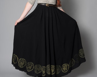 very wide long skirt, made of cotton or linen of your choice, high waist, elastic waist, non-stretchy, hand printed, scythian symbols