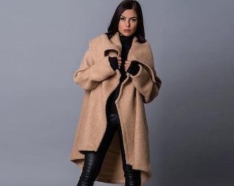 Ready To Ship Black Wool Elegant Coat in Size S Black Fuzzy Long Coat