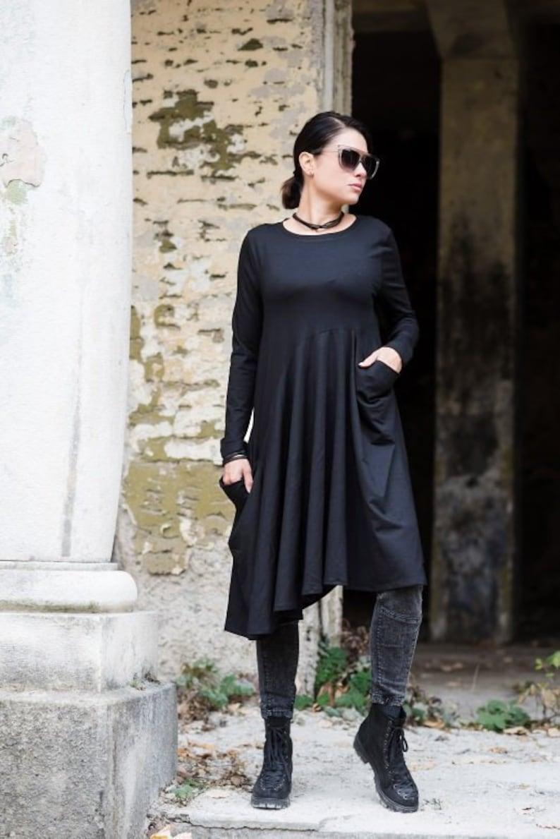 Plus Size Tunic Dress, Black Tunic, Plus Size Clothing, Gothic Tunic,  Steampunk Tunic, Punk Clothing, Minimalist Tunic, Pleated Tunic