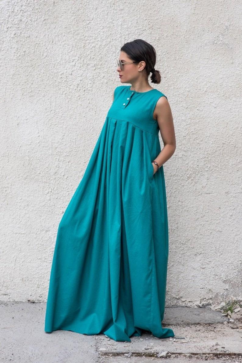 Petrol Kleid Leinen Shirt Kleid Leinen Kleidung Maxi ...