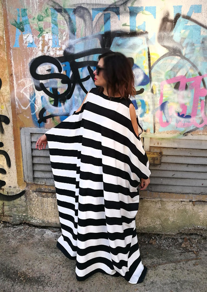 Plus Size Maxi Dress, Maxi Dress, Plus Size Dress, Trendy Plus Size  Clothing, Black And White Dress, Avant Garde Clothing, Stripe Dress
