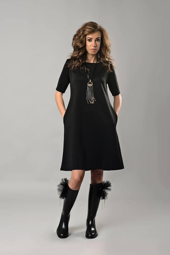 Black Dress Plus Size Dress Formal Dress Women Dress Short Etsy