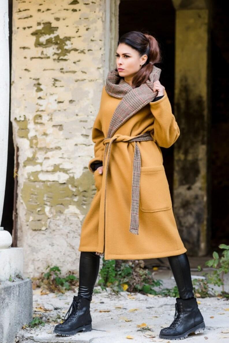 Mustard Coat Oversized Coat Coat For Women Plus Size Clothing Warm Winter Coat Hooded Coat Wool Clothing Hoodie Coat Winter Coat