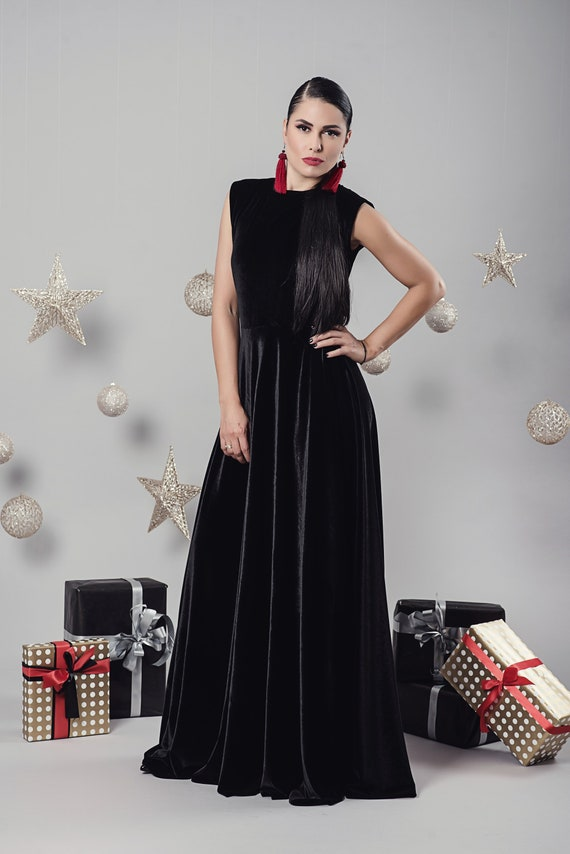 Velvet Maxi Dress Black Maxi Dress Abaya Dress Plus Size Etsy