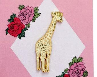 Golden Giraffe Enamel Pin, Giraffe Lapel Pin, Small Stocking Filler, Valentines Gift, Animal Lover Gift