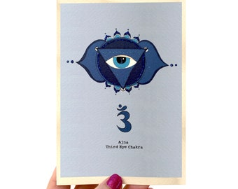 - 6 x 9  Greeting Card Blank inside ON SALE Blue Whispers of Truth description on back Goddess Chakra Series