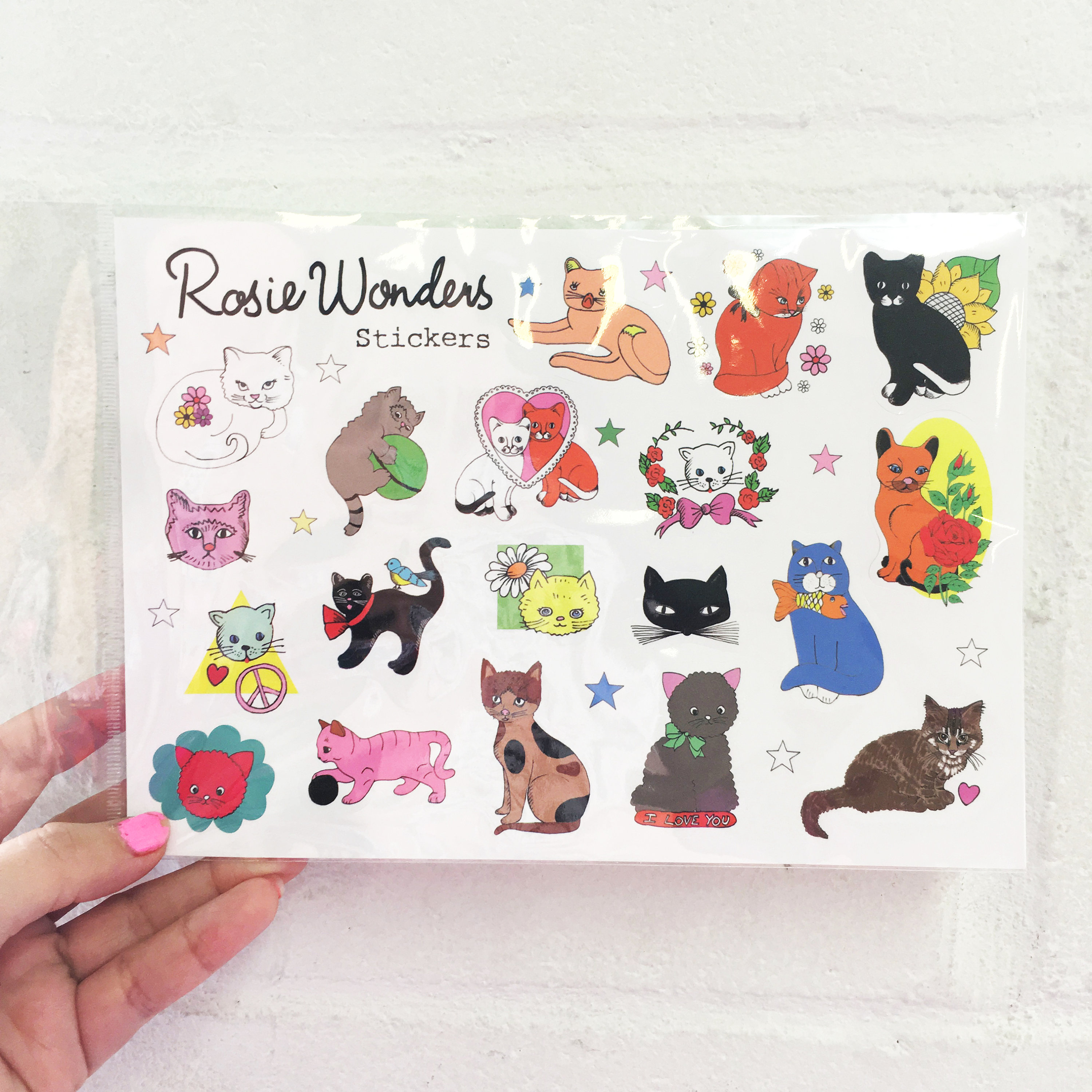Cats animals cute kitten kitty A5 stickers set decals