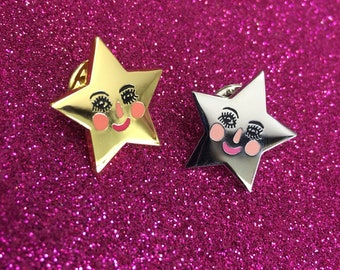 Starface Enamel Pin in Gold or Silver