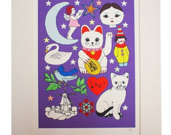 Lucky Cat A4 Hand Decorated Print