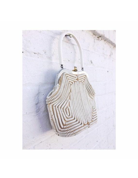 Vintage 50's Cream Telephone Cord Coil Handbag