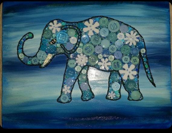 Blue Elephant Art Elephant Lover Gift Elephant Button Art