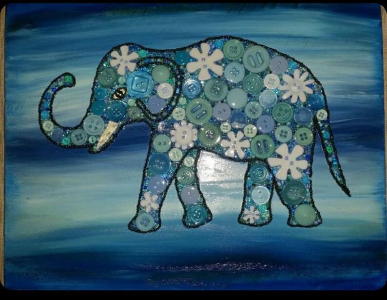 Blue Elephant Art Lover Gift Button