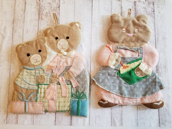 Vintage Bear Trivets Momma and Baby Bear Kitchen Decor Kitchen Whimsy  Mother\'s Day Cooking Bear Mother and Child Vintage Bear Trivet