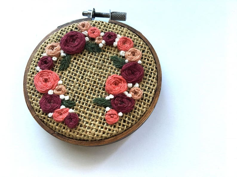 Peach Floral Wreath  Hand Embroidered Holiday Ornament