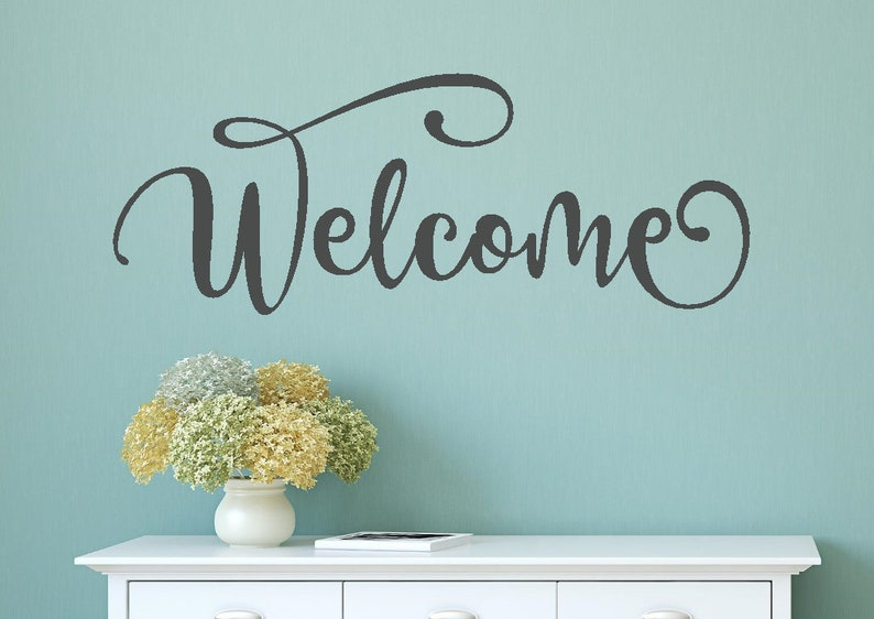 welcome wall decal welcome wall sticker welcome vinyl decal | etsy