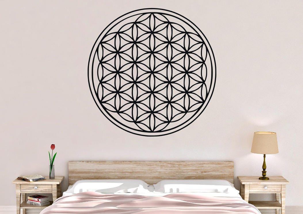 flower of life wall decal flower of life wall art flower | etsy