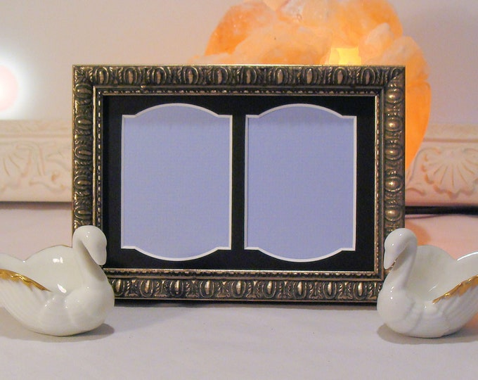 """Ornate Picture Frame German Silver Wood & Mat  for 2 two 2.5 x 3.5"""" Double Photos Art ACEO's Museum Glass and Backing Hardware Archival"""