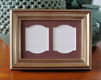 """Silver Wood Picture Frame Holds Two  2 1/2x2"""" Small Wallet Size Photos or Prints Choose Mat Color Double Opening Museum Glass"""