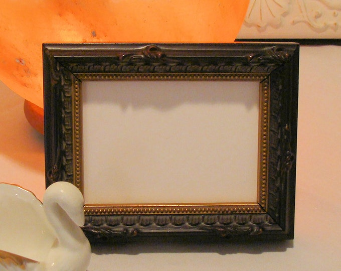 """Ornate Wood Picture Frame for Art Cards, ACEO's, Trading Cards, Small Prints, Photos,  2.5 x 3.5""""  AR Glass Coffee Brown / Gold Finish"""