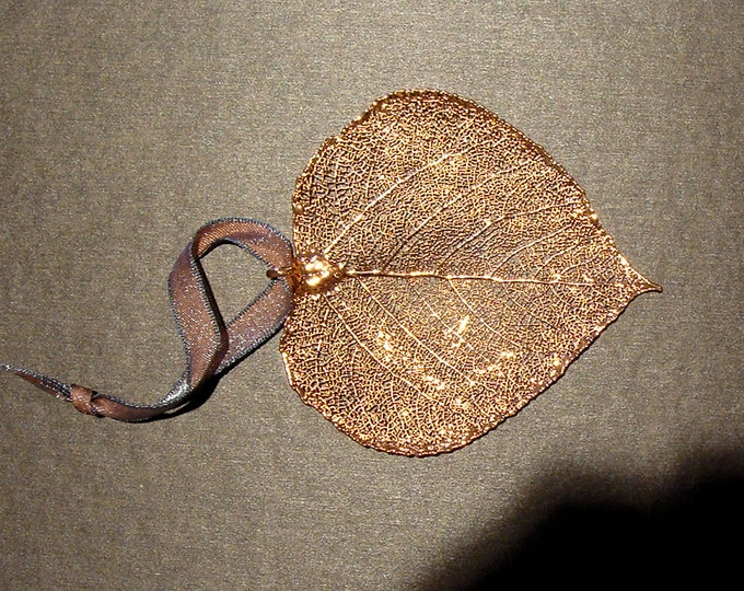 """Real Aspen Leaf Semi Transparent Coated in Copper with a Green Patina 3x3"""" from the Still Life  Collection Hang for Christmas or Year Round"""