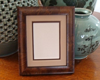 """Burl Wood Picture Frame with Double Mats for Art Cards, ACEO's, Small Prints, Photos,  2.5 x 3.5""""  - AR Glass, Backing & Hardware"""