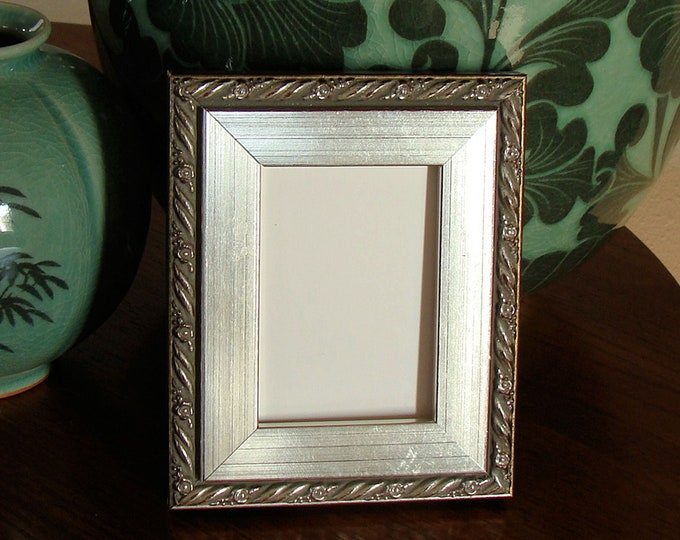 """Silver Picture Frame  - Art Cards, ACEO's, Trading Cards, Small Prints, Photos  2.5 x 3.5"""" Museum Glass Hardware Traditional to Ornate"""