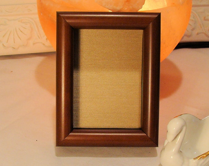 """Cherry Shadow Box Wood Picture Frame 5/8"""""""" Deep Holds Keepsakes Up To 2.25 x 3.2.5"""" Museum Glass, Gold Silk Mat Contemporary for Jewelry etc"""