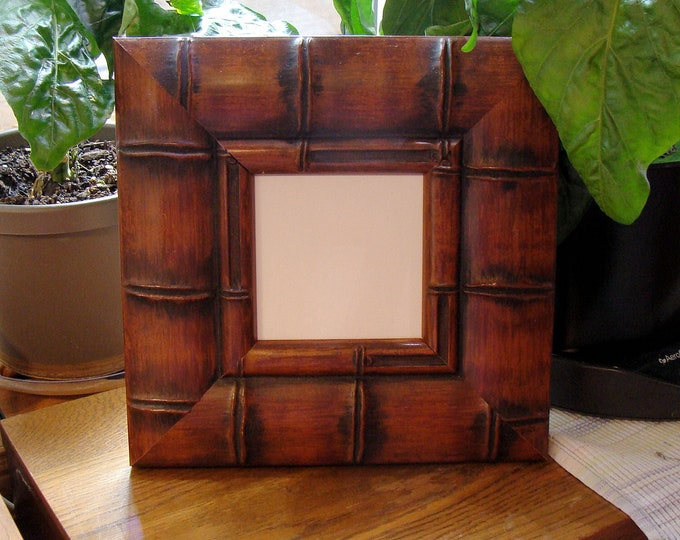 """Wood Picture Frame (Asian) Bamboo Style Holds 4"""" Square Small Print, Photo  or Art /  Museum Glass & Hardware, Backing Larson Juhl Moulding"""