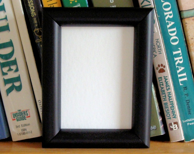 Black Wood Picture Frame for Small Photos, ACEO's, Wallet Photos, Trading Cards with Museum Glass, Backing and Harware, Contemporary Design