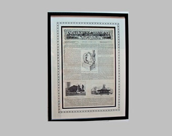 Archivally Framed Antique Scientific American Magazine Oct 26, 1876,  Hand Inked Stars & Lines Emulating the Border Featuring Meterorites