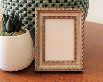 """German Silver Wood Picture Frame  Classic Style / Art Cards, ACEO's, Trading Cards, Small Prints, Photos,  2.5 x 3.5""""  Museum Glass - Braid"""