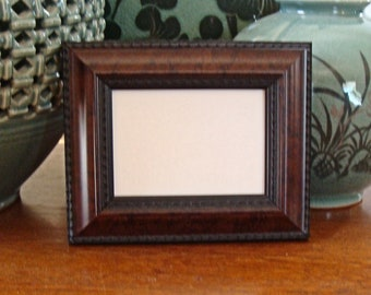 """Wood Picture Frame Art Card, ACEO's, Trading Card, Small Print, Photo - Holds  2.5 x 3.5""""  Museum Glass  Raised Trim on Sophisticated Burl"""