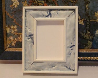 """Wood Picture Frame for Art Cards, ACEO's, Trading Cards, Small Prints, Photos,  2.5 x 3.5""""  Anti Reflective Glass Blue / White Sculpted Look"""