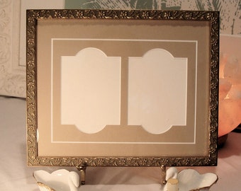 """Ornate Gold Toned Picture Frame & Archival Mats  2.25 x 3.25"""" Openings for ACEO's, Trading Cards, Photos  UV Protecting Glass, Backing"""