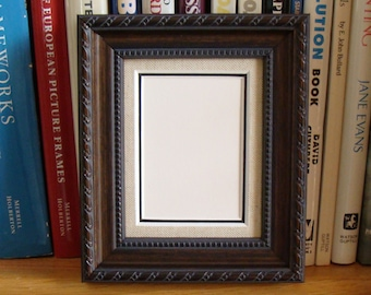 """Wood Picture Frame & Archival Matting  Holds 2.5 x 3.5"""" Photos, ACEO's, Trading Cards,  Art Classic Victorian Style Rasied Bead , Braid Trim"""