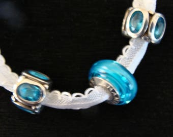 Genuine Chamila Charm Beads Sets of Three .925 Sterling Silver, Murano, Crystal, Never Worn  Choose from Three Sets  Fits Pandora, etc.