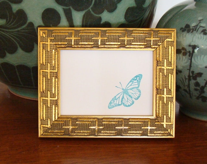 """Gold Wood Picture Frame  Classic Asian  Style / Art Cards, ACEO's, Trading Cards, Small Prints, Photos,  2.5 x 3.5""""  Museum Glass & Hardware"""