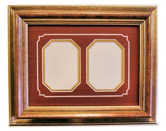 """Gold Toned Picture Frame & Archival Mats  2.25 x 3.25"""" Openings for ACEO's, Trading Cards, Photos  UV Protecting Glass, Backing, Hardware"""