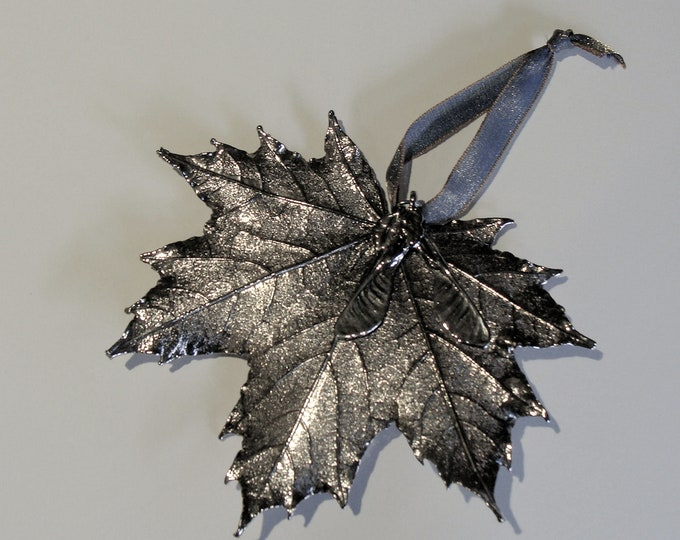 """Real Maple Leaf Semi Transparent Coated in Genuine Silver Measures 5x 4"""" from the Still Life  Collection Hang for Christmas or Year Round"""