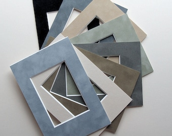 """ACEO Art Card Frame Mats 6 Suede Mat Boards Fits 2.5 x 3.5""""  Art Print or Photo Color Variety Choose Size of Frame to Fit  4x6"""" or 5x7"""""""