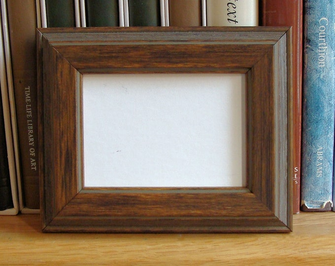 """Picture Frame for Art Cards, ACEO's, Trading Cards, Small Prints, Photos,  2.5 x 3.5""""  Museum Glass, Walnut Finish on Wood Traditional"""