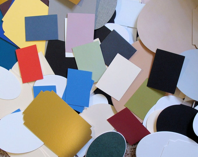 """Mat Board Cut Outs Craft Project for Artists or  Home School Make Trading Cards, Etc. Variety Shapes and Colors Sizes up to 6x8"""" Kids Love"""