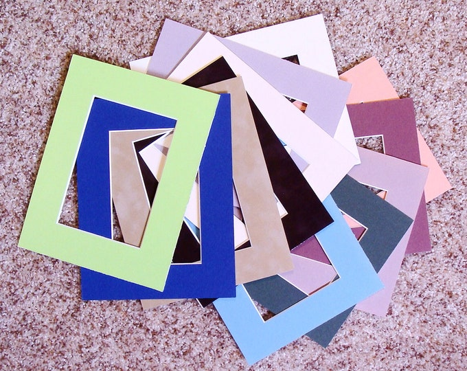 12 Archival  Picture Framing Mats 7x9 - 5x7 Opening 0r 8 x 10 - 5x7 Opening  Mat Your Photos for Gifts Great for Artists, Kids Art etc