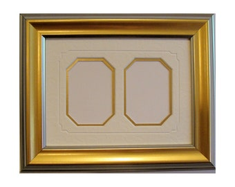 """Gold - Silver Picture Frame & Archival Mats  2.25 x 3.25"""" Openings for ACEO's, Trading Cards, Photos  UV Protecting Glass, Backing, Hardware"""