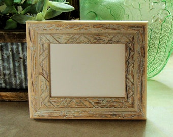 """Rustic Wood Picture Frame White Toned for ACEO's Art Cards, Miniatures,  Prints, Photos,  2.5 x 3.5""""  - Museum Glass, Backing & Hardware"""